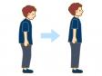 猫背と背筋が真っ直ぐな男性のイラスト