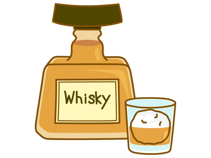 ウイスキー(ボトルとグラス)のイラスト