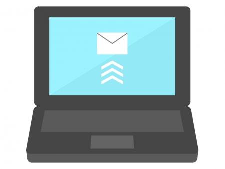パソコンからメール送信のイラスト