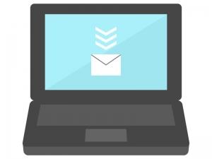 パソコンでメール受信のイラスト