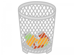 空き缶が入ったゴミ箱のイラスト02