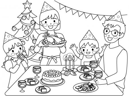 クリスマスパーティーをしている家族のぬりえ(線画)イラスト素材