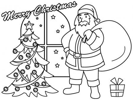 クリスマス・サンタとツリーのぬりえ(線画)イラスト素材
