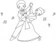 社交ダンスのぬりえ(線画)イラスト素材