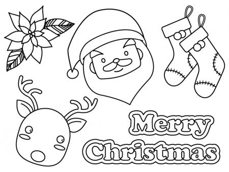 クリスマス・サンタとトナカイと靴下のぬりえ(線画)イラスト素材