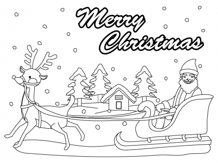 クリスマス・サンタとトナカイと森のぬりえ(線画)イラスト素材