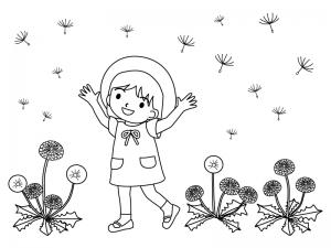 たんぽぽと子どものイラストのぬりえ線画イラスト素材 イラスト