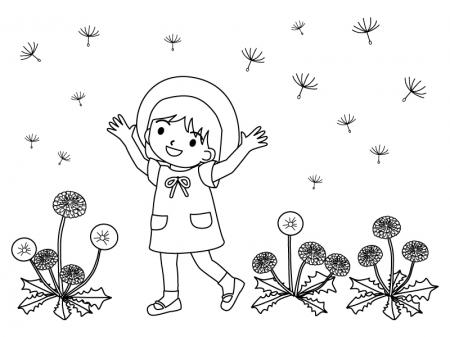 たんぽぽと子どものイラストのぬりえ(線画)イラスト素材