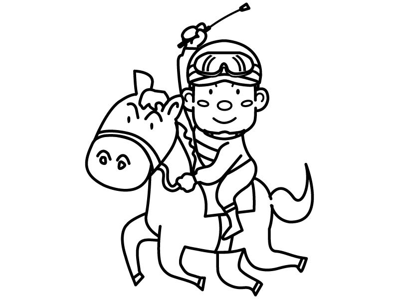 競馬・騎手と馬のぬりえ(線画)イラスト素材