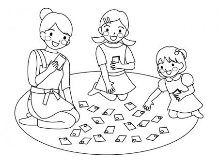 かるた取りをしている家族のぬりえ(線画)イラスト素材