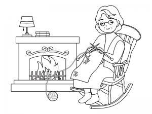 暖炉の前で編み物をするおばあちゃんのぬりえ(線画)イラスト素材