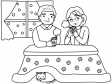 こたつでお茶を飲むおじいちゃんとおばあちゃんのぬりえ(線画)イラスト素材