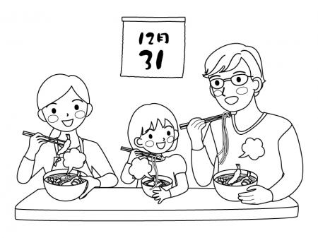 年越しそばを食べる親子のぬりえ(線画)イラスト素材