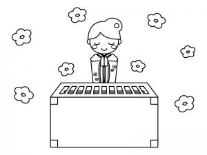 初詣のお参りのぬりえ(線画)イラスト素材
