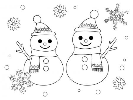 2つの雪だるまのぬりえ(線画)イラスト素材