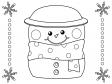 かわいい雪だるまのぬりえ(線画)イラスト素材