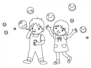 シャボン玉で遊ぶ子どものぬりえ(線画)イラスト素材