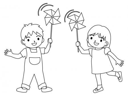 風車で遊ぶ子どものぬりえ(線画)イラスト素材