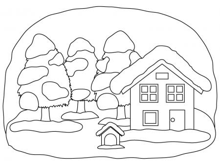 冬の景色のぬりえ(線画)イラスト素材