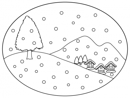 冬の景色のぬりえ(線画)イラスト素材02