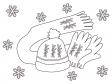 手編みの手袋と帽子・マフラーのぬりえ(線画)イラスト素材