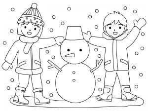 雪だるまを作る子供達のぬりえ(線画)イラスト素材