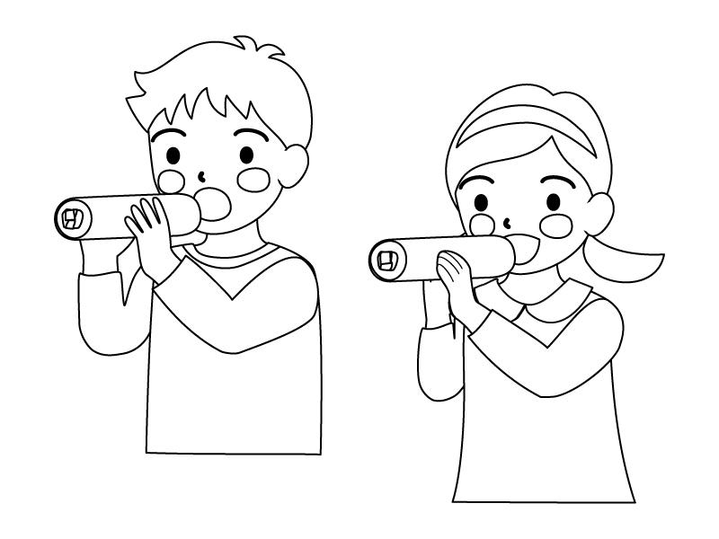 恵方巻きを食べている子供達のぬりえ(線画)イラスト素材