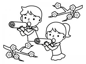 恵方巻きを食べている子供達のぬりえ線画イラスト素材02 イラスト