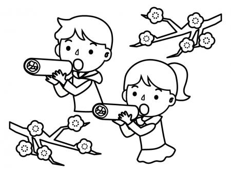 恵方巻きを食べている子供達のぬりえ(線画)イラスト素材02
