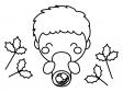 恵方巻きを食べている子供のぬりえ(線画)イラスト素材