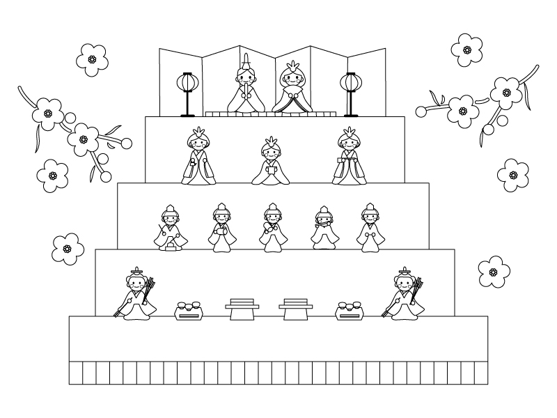 雛祭り・雛飾りのぬりえ(線画)イラスト素材