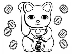 招き猫と小判のぬりえ(線画)イラスト素材