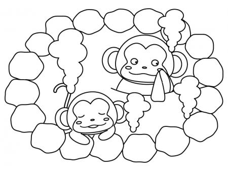 温泉に入るお猿さんのぬりえ(線画)イラスト素材