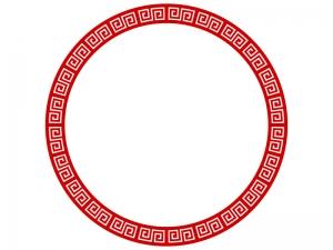 丸い雷紋のフレーム・枠のイラスト