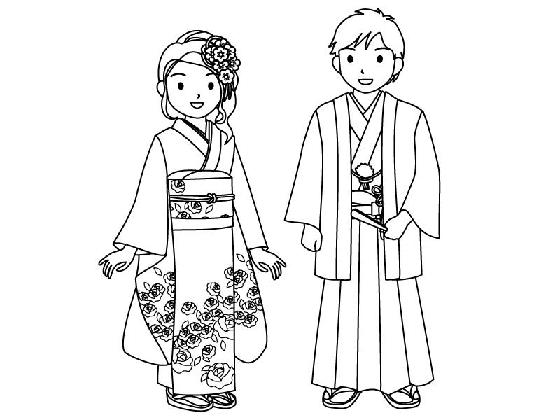 成人式を迎えた男女のぬりえ(線画)イラスト素材
