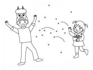 節分に豆まきをしている子供達のぬりえ(線画)イラスト素材