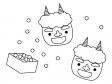 節分の豆と鬼のぬりえ(線画)イラスト素材