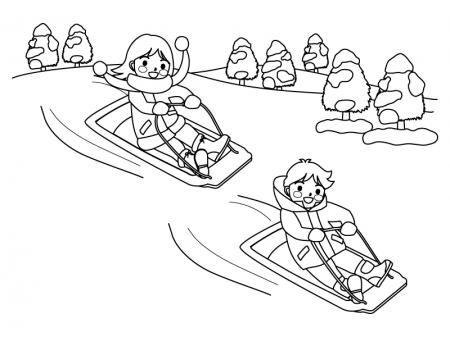そり滑りをしている子供のぬりえ(線画)イラスト素材