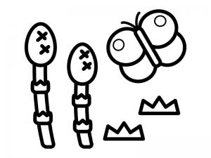 春・つくしと蝶々のぬりえ(線画)イラスト素材02