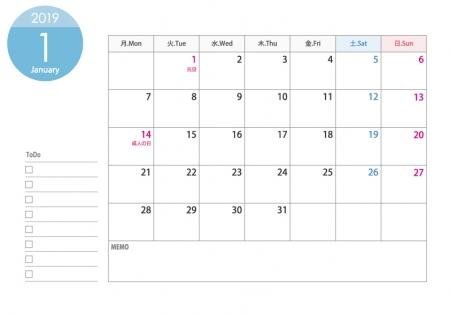 [月曜始まり]A4横・2019年1月カレンダー・印刷用
