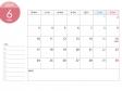 [月曜始まり]A4横・2019年6月カレンダー・印刷用