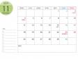 [月曜始まり]A4横・2019年11月カレンダー・印刷用