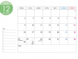 [月曜始まり]A4横・2019年12月カレンダー・印刷用