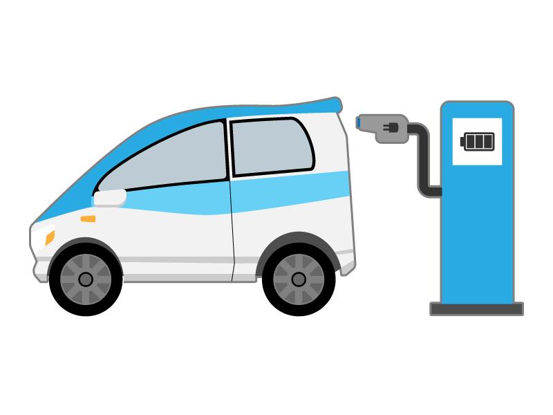 電気自動車(EV車)のイラスト