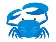 青いカニ(蟹)のイラスト