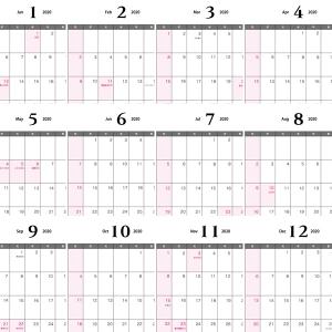 2020年(令和2年)1月~12月の年間カレンダー