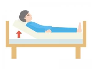 ベッドのギャッチアップ(人物あり)のイラスト