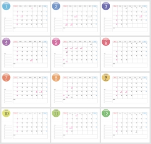 A4横・2020年(令和2年)1月~12月の年間カレンダー