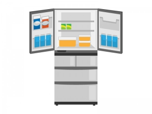 扉を開けた大型冷蔵庫のイラスト