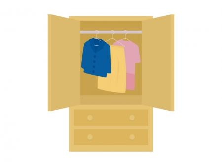 クローゼット・洋服タンスと洋服のイラスト